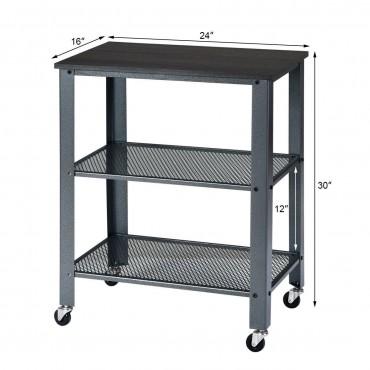 3-Tier Kitchen Utility Industrial Cart With Storage