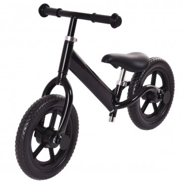 Black 12 In. Balance Kids No - Pedal Learning Bicycle