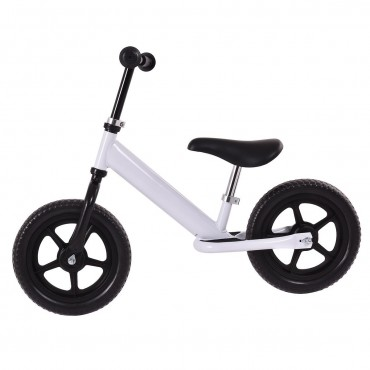 White 12 In. Kids No - Pedal Bike W/ Adjustable Seat