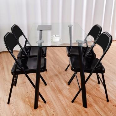 Set Of 4 Steel Frame Heavy Duty Armless Folding Chairs