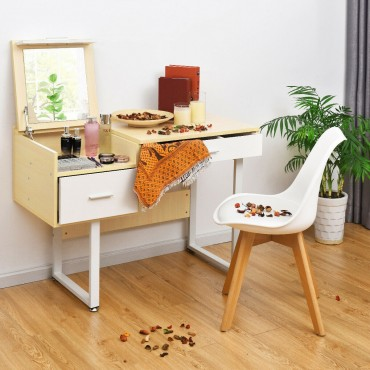 Square Mirror Makeup Dressing Table With Flip Top