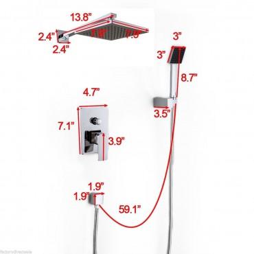 8 In. LED Rainfall Shower Head Arm Control Valve Handspray Shower Faucet Set