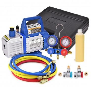 4CFM 1/3HP Air Vacuum Pump HVAC Refrigeration Kit AC Manifold Gauge Set R134