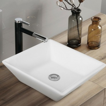 16 in. x 16 in. Square Bathroom Ceramic Vessel Sink With Pop-Up Drain