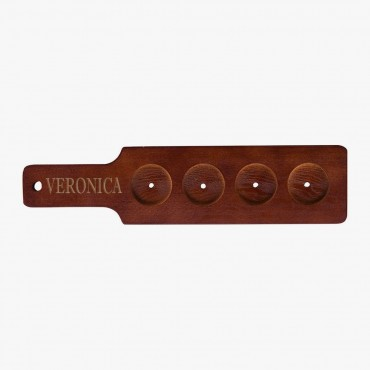 Red-Brown Finish Custom Wood Flight Sampler Paddle