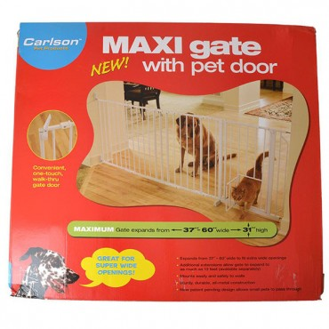 Carlson Pet Gates Maxi Walk Thru Gate with Pet Door - Regular - 34.5 in. - 38 in. W x 31 in. H - 50 in. - 59 in. Wide with Extension