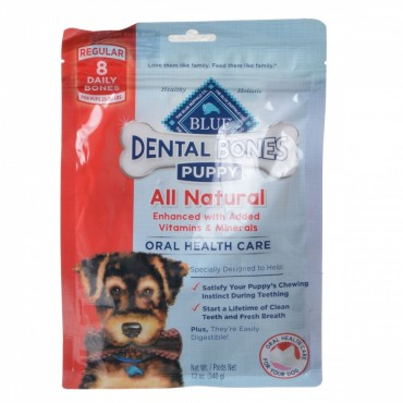 Blue Buffalo Puppy Dental Bones - Regular - 8 Pack - Puppies 25 - 50 lbs