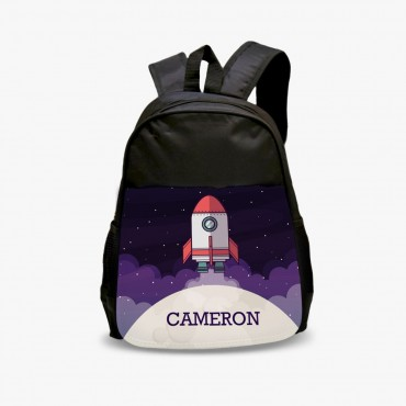 Rocket Personalized Kids Black Backpack