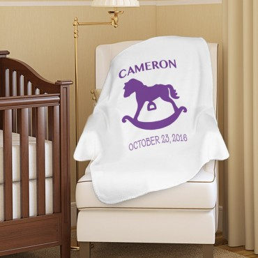 Rocking Horse Custom Name Plush Baby Blanket