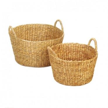 Round Wicker Baskets Duo