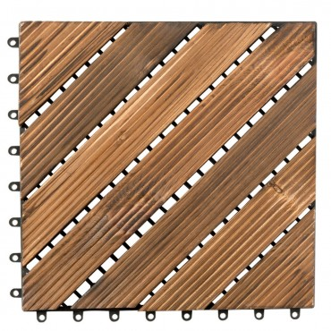 11 PCS Interlocking Wood Deck Tiles Patio Pavers Tiles Diagonal Floor