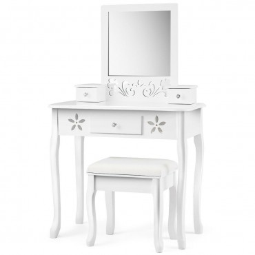 Vanity Modern Carved Table And Stool Set With Mirror 3 Drawers