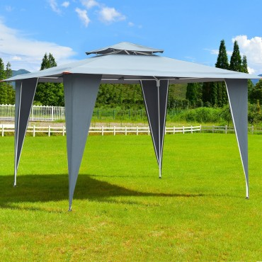 2 Tiers 11.5 Ft. x 11.5 Ft. Gazebo Canopy Shelter Patio Awning Tent