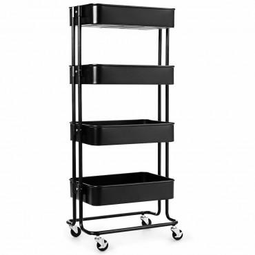 4-Tier Metal Rolling Storage Cart Mobile Organizer With Adjustable Shelves