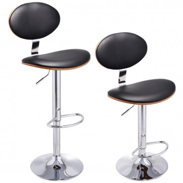 Set Of 2 Modern Bentwood Swivel Bar Stools