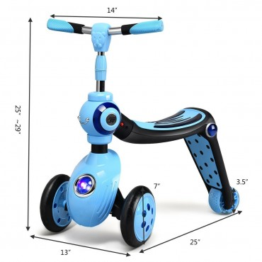 2-in-1 Kick Scooter Balance Trike With 3 Wheel