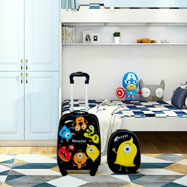 2 Pcs Kids Luggage Set 12 In. Backpack And 16 In. Rolling Suitcase