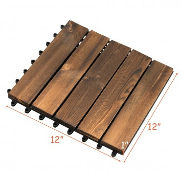 11 PCS 12 In. x 12 In. Interlocking Wood Deck Tiles Patio Pavers Floor