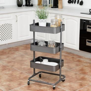 3-Tier Metal Storage Cart Mobile Organizer With Adjustable Shelves