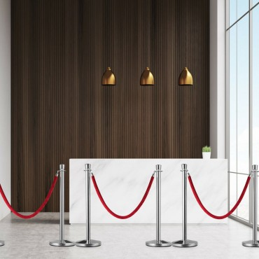 6 Pcs Stanchion Posts Retractable Ropes Crowd Control Barrier