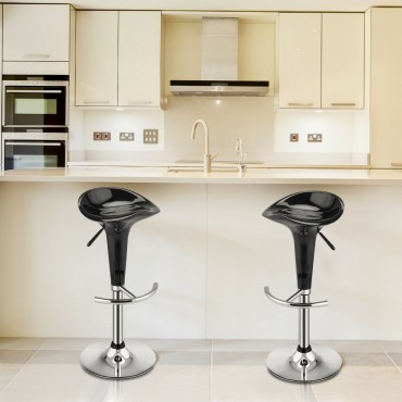 Set Of 2 Modern Bombo Style Swivel Bar Stools