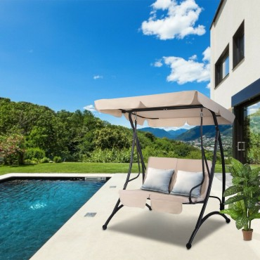 2 Person Cushioned Furniture Steel Canopy Swing Chair Patio Hammock Seat