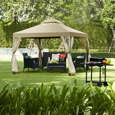 Outdoor 2-Tier 10 Ft. x 10 Ft. Screw-Free Structure Shelter Awning Gazebo Canopy