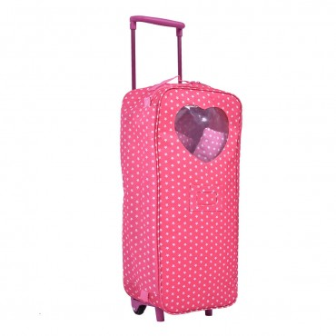 18 In. Doll Travel Carrier Trolley Case With Bed And Bedding