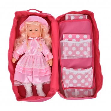 18 In. Doll Travel Carrier Case Bag With Bed And Bedding