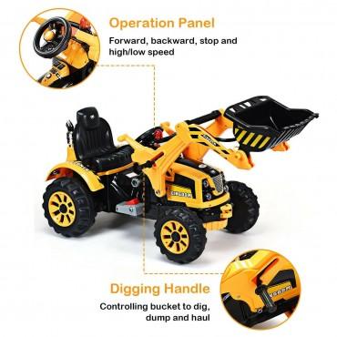 12 V Battery Powered Kids Ride On Dumper Truck With Front Loader Digger