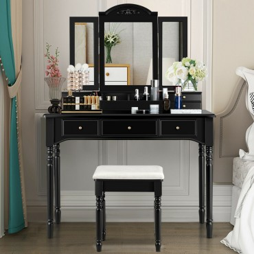 Vanity Tri-Folding Necklace Hooked Mirror Dressing Table Set With 7 Drawers