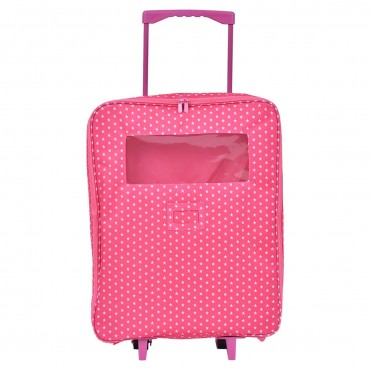 18 In. 2 Dolls Travel Carrier Trolley Case With Bed And Bedding