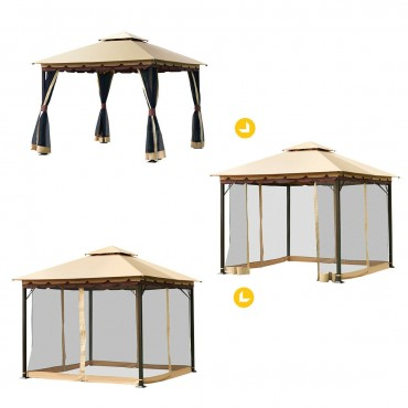 2-Tier 10 Ft. x 10 Ft. Patio Shelter Awning Steel Gazebo Canopy