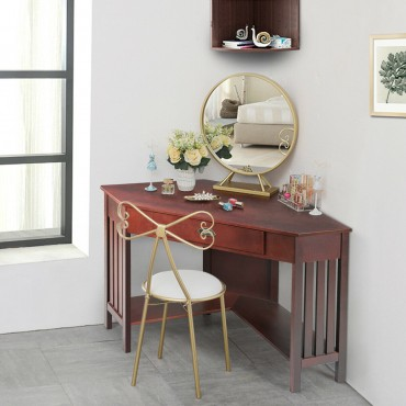 Corner Writing Desk With Drawer And Shelves