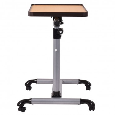 Rolling Adjustable Overbed Table Laptop Desk With Tilting Top