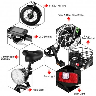500 W Electric Adults Tricycle With 20 In. Fat Tire And Lithium Battery