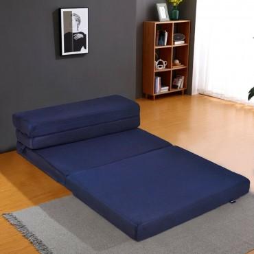 5 Ft. Quart Folding Futon Sleepover Sofa Bed Foam Mattress