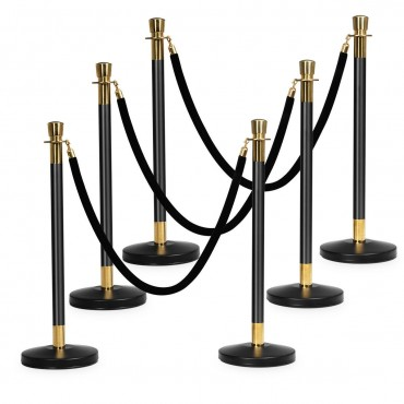 6 Pcs Pole Retractable Ropes Crowd Control Barrier Stanchion Posts