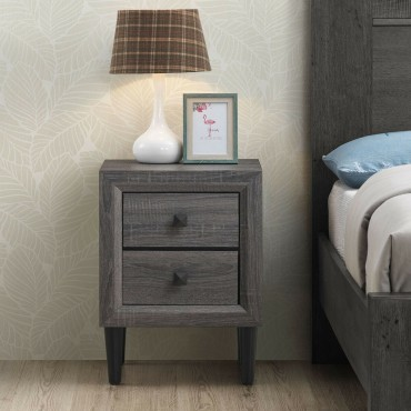 Multipurpose Retro Bedside Nightstand With 2 Drawers