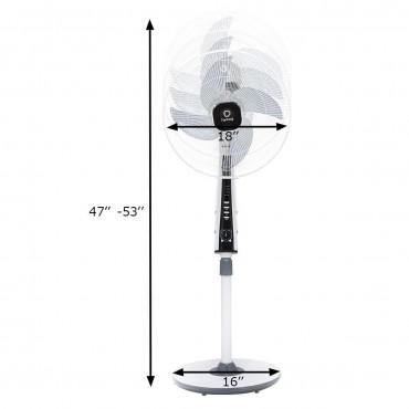 15 In. 4 Blades 3-Speed Height Adjustable Remote Control Pedestal Fan