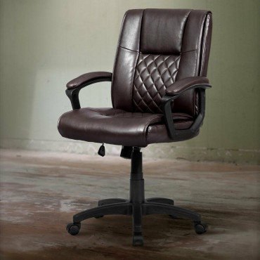 Ergonomic PU Leather Mid-Back Computer Office Chair