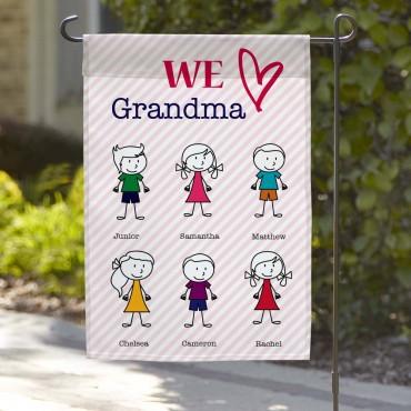 We Love Grandma Custom Garden Flag