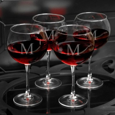 Personalized Red Wine Glasses - Set of 4