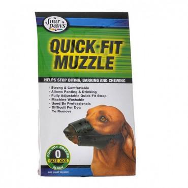 Four Paws Quick Fit Muzzle - Size 0 - Fits 4.5 in. Snout - 2 Pieces