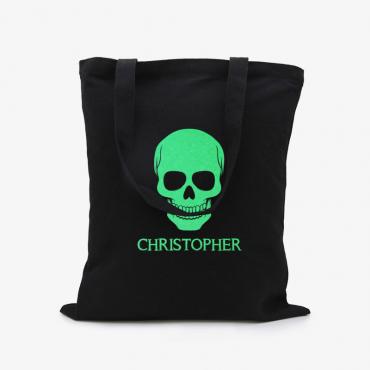 Skull Custom Black Glow In The Dark Tote Bag