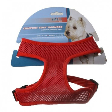 Coastal Pet Comfort Soft Adjustable Harness - Red - Small - 5/8 in. Wide - Girth Size 19 in. - 23 in.