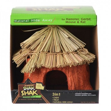 Ecotrition 100% Edible Snak Shak Natural Hide Away - Small - 5 in. Diameter x 7 in. Tall x 1.75 in. Opening