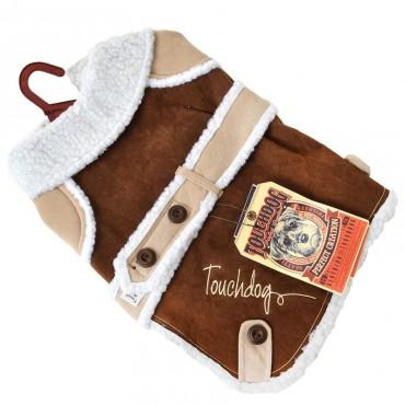 Touchdog Brown Sherpa Dog Coat - Small - 10 -12 Neck to Tail
