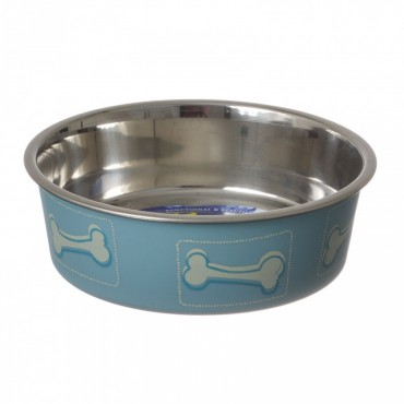 Loving Pets Stainless Steel and Coastal Blue Bella Bowl with Rubber Base - Small - 1.25 Cups 5.5D x 2H