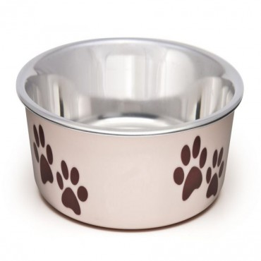 Loving Pets Stainless Steel and Light Pink Dish with Rubber Base - Small - 5.5 Diameter